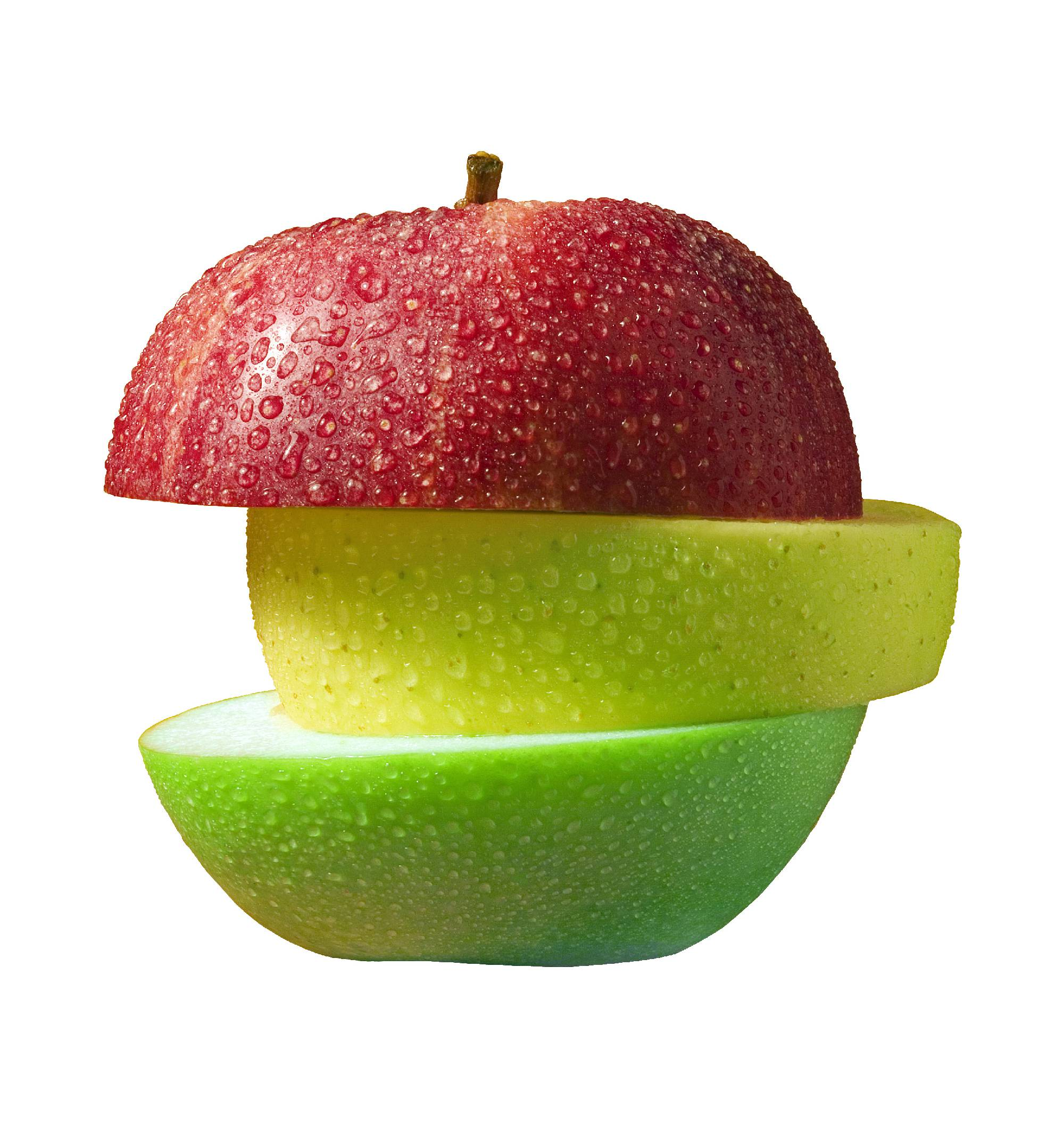 Apple in three slices